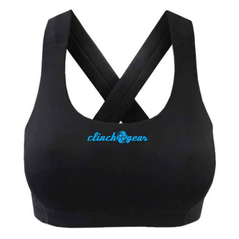 Performance Racerback Sports Bra - Crush - Black/Cyan - Clinch Gear