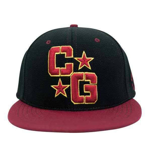 Combat Flat Billed Perfect Fit Hat- Maroon/Black - Clinch Gear