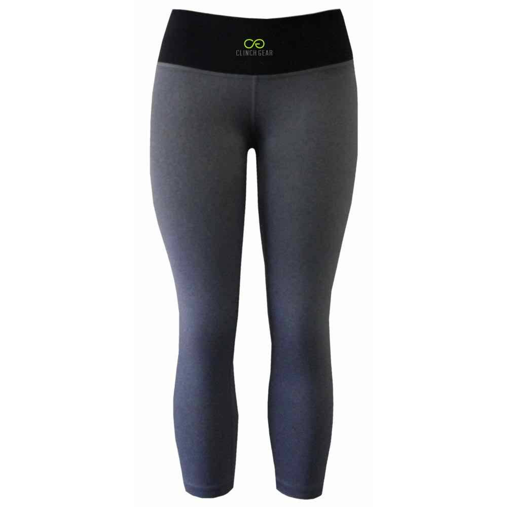 Cross Training Performance Capri Tights - Lux - Heather Gray - Lime Green - Clinch Gear