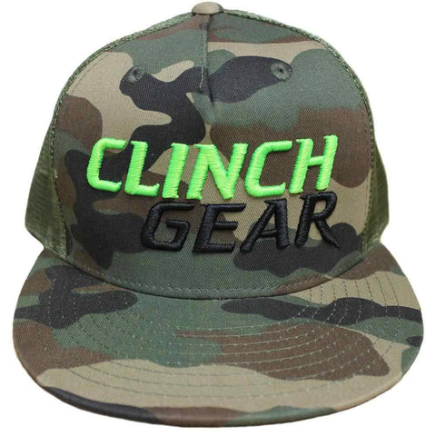 CG Stacked – Snapback Hat – Woodlawn Camo – Lime Green/Black - Clinch Gear