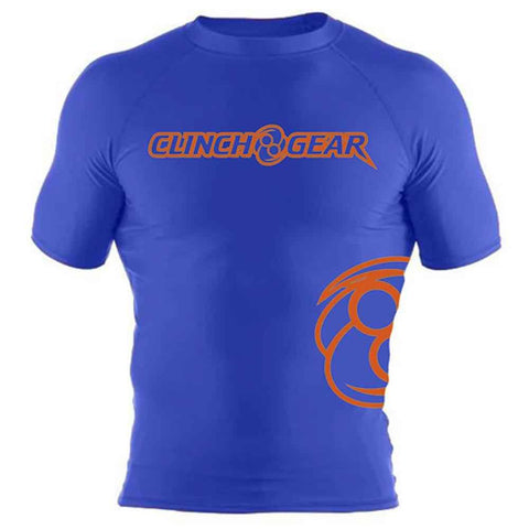 ICON Rash Guard - Short Sleeve - Royal/Orange - Clinch Gear