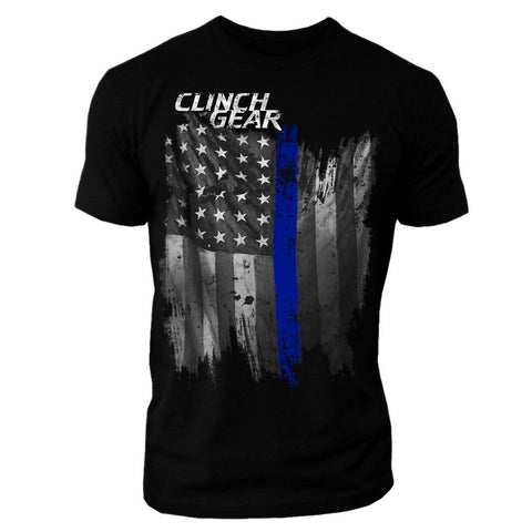 Thin Blue Line - Crew Tee - Black - Clinch Gear