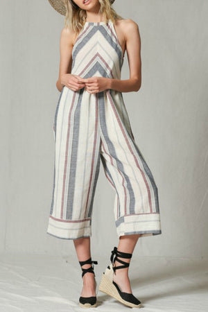 Striped Midi Jumpsuit