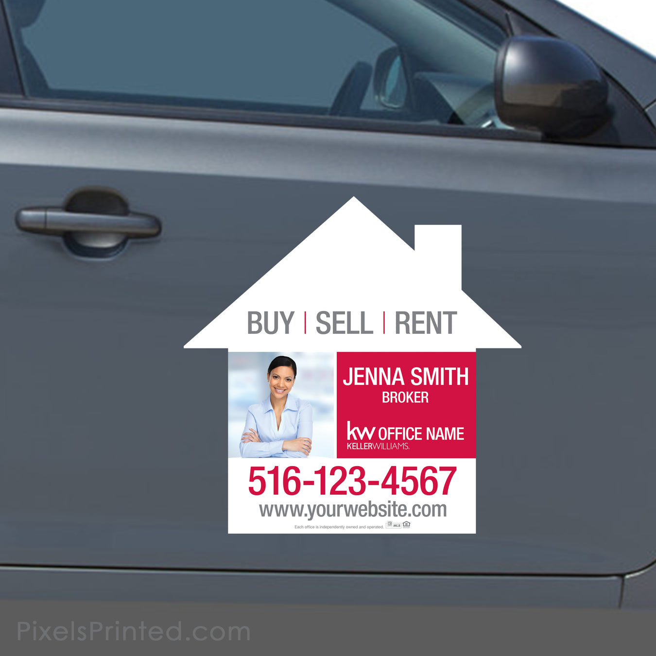 keller williams car magnets, real estate car magnets, house shaped car magnets