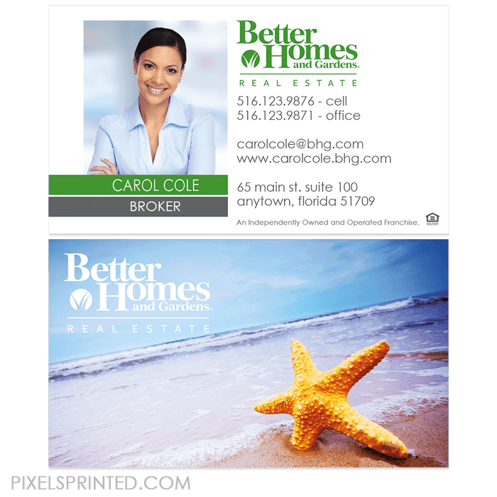 Better Homes and Gardens real estate business cards business cards PixelsPrinted