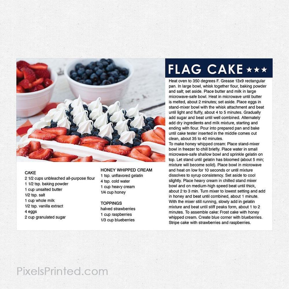 Keller Williams 4th of July recipe postcards PixelsPrinted