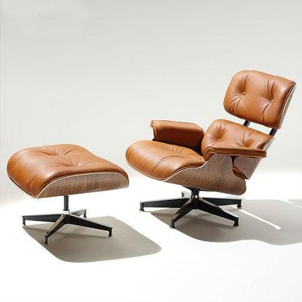 ... Eames Style Designer Lounge Chair and Ottoman w/ Brown Italian Aniline Leather ...  sc 1 st  MyConcept Hong Kong & Eames Style Lounge Chair and Ottoman (Italian Leather) islam-shia.org