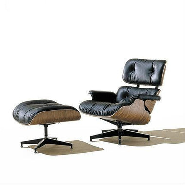 Eames Style Designer Lounge Chair and Ottoman w/ Italian Aniline Leather