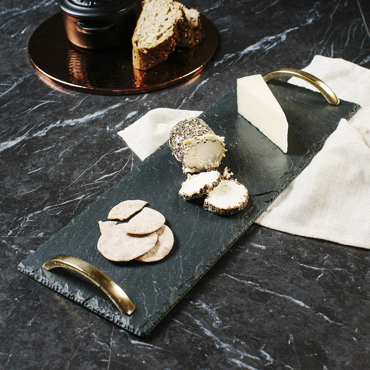 Small Serving Tray with Gold Handles