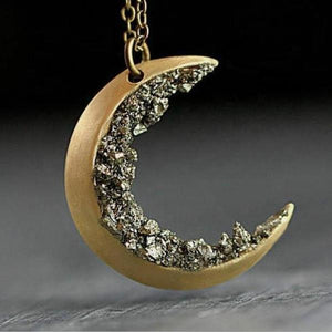 Crushed Crystal Decorated Crescent Moon Necklace