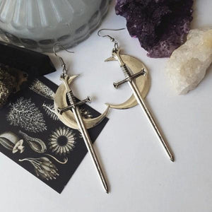 Moon and Dagger Witchy Earrings