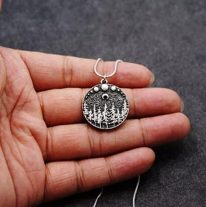 Pine Trees at Night Pendant Necklace