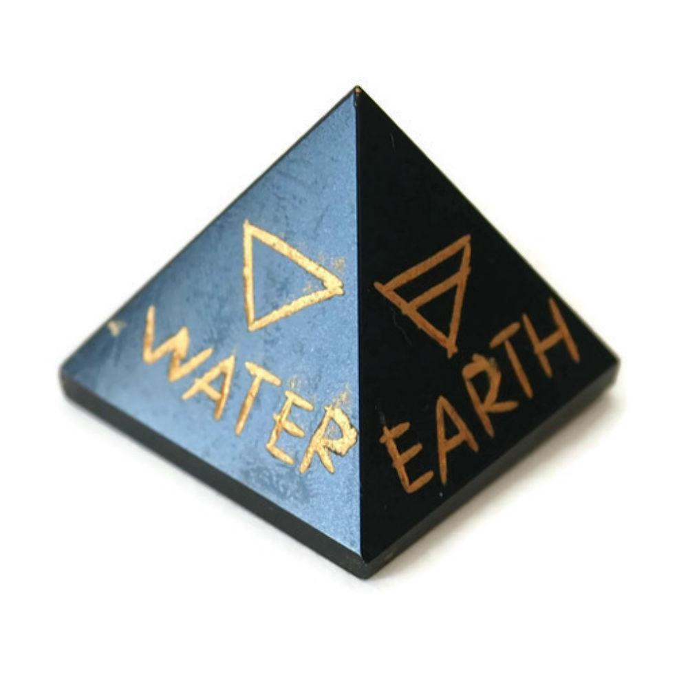 5 elements engraved black agate pyramid