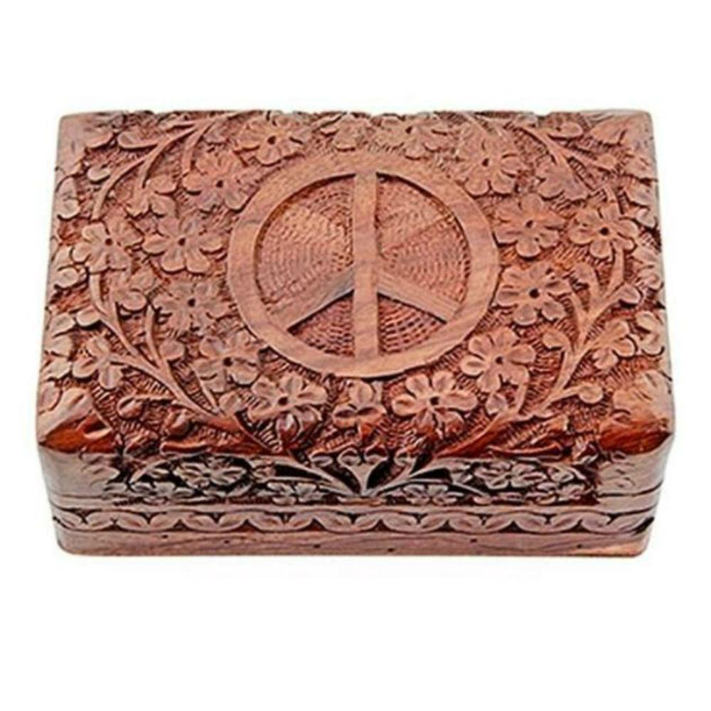 Peace sign wooden box