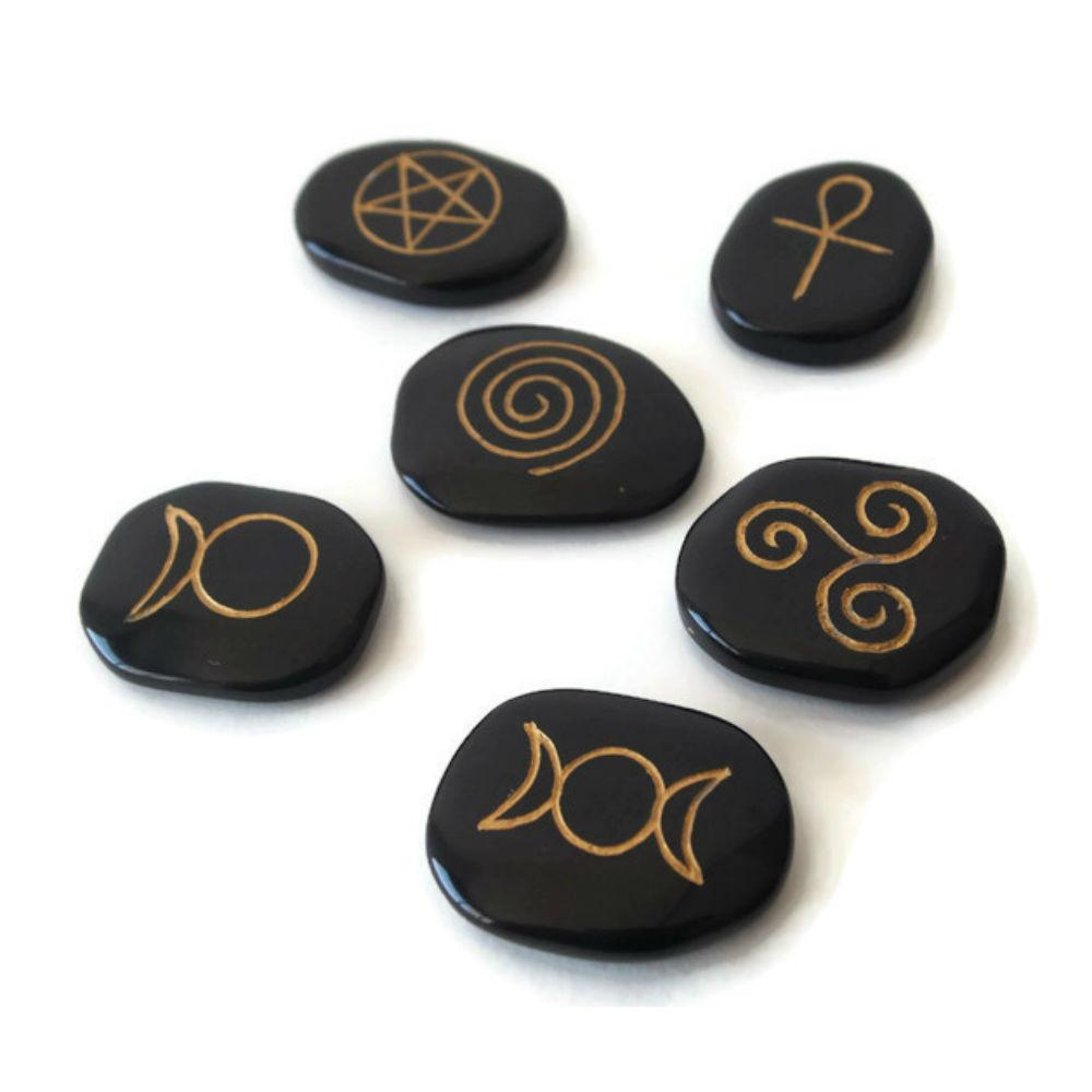 Set of 6 Wiccan symbols engraved on black agate