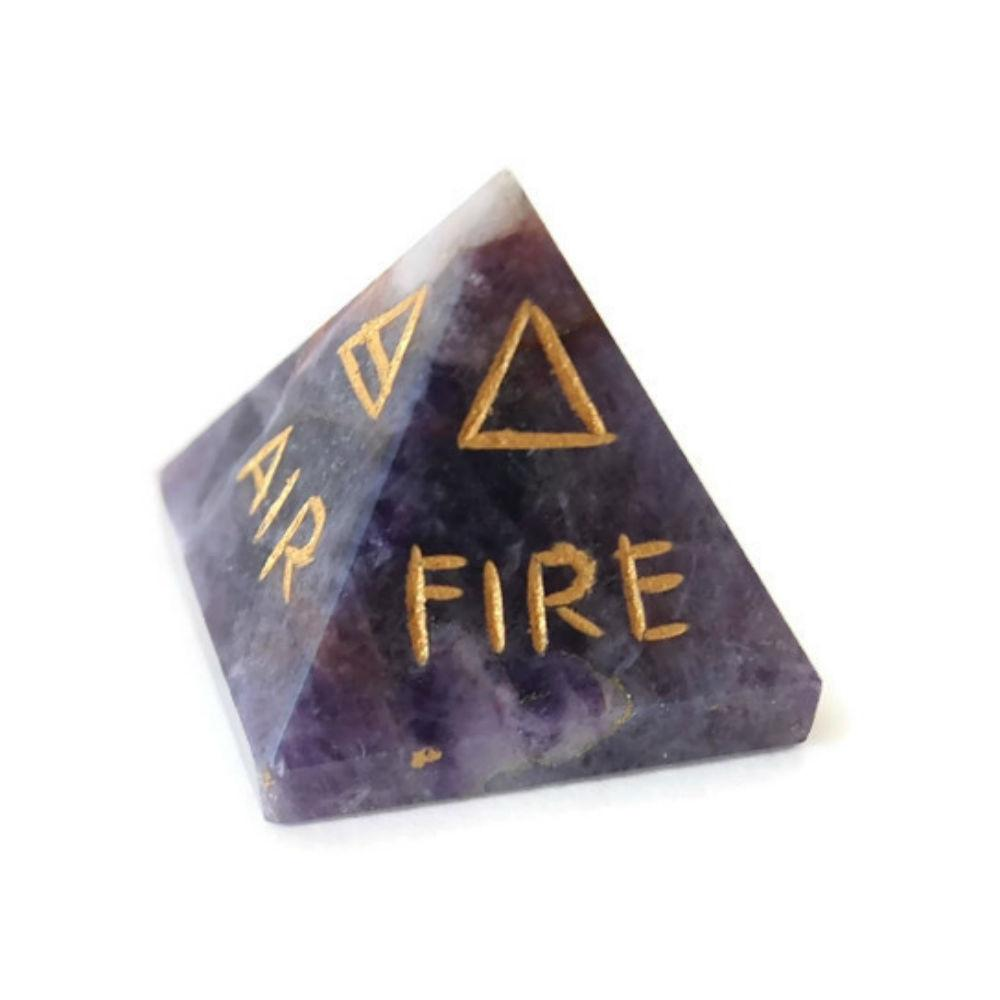 5 elements engraved on amethyst pyramid