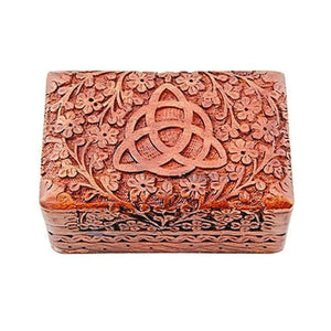 Triquetra carved wooden box