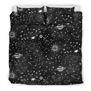 Astrology Map - Black Bedding Set