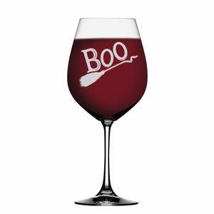 BOO 19 oz Laser Etched Wine Glass