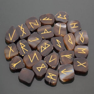 Black Agate Slice Rune Set