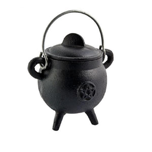 Pentacle Cast Iron Cauldron with Lid