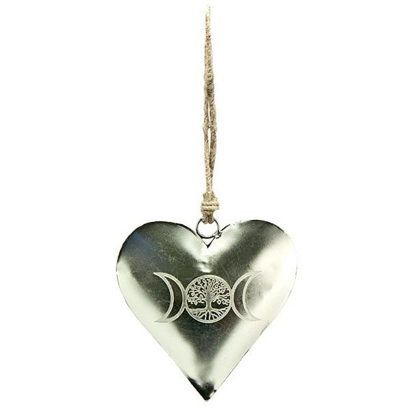 Triple Moon Tree of Life Etched Heart Chime