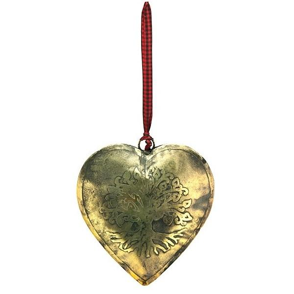 Tree of Life Carved Heart in Antique Brass