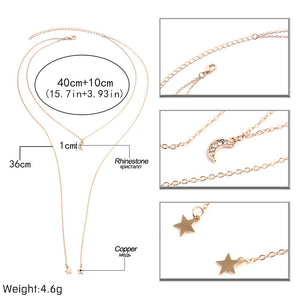 Moon and stars rhinestone double layer necklace.