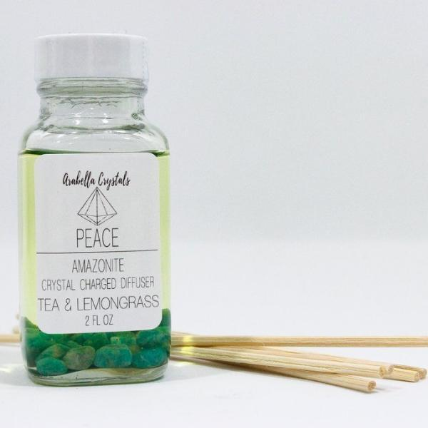 Amazonite Crystal Reed Diffuser - Tea and Lemongrass Oil Diffuser