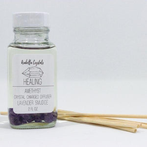 Amethyst Crystal Reed Diffuser - Lavender Smudge Stick Scented Oil Diffuser