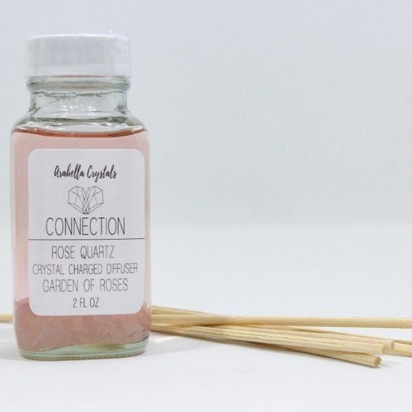 Rose Quartz Crystal Reed Diffuser - Garden of Roses Scented Oil Diffuser