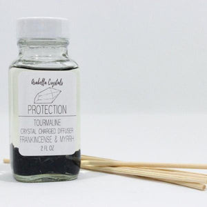Tourmaline Crystal Reed Diffuser - Frankincense and Myrrh Scented Oil Diffuser