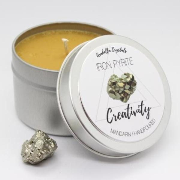 Iron Pyrite Crystal Candle - 4oz.
