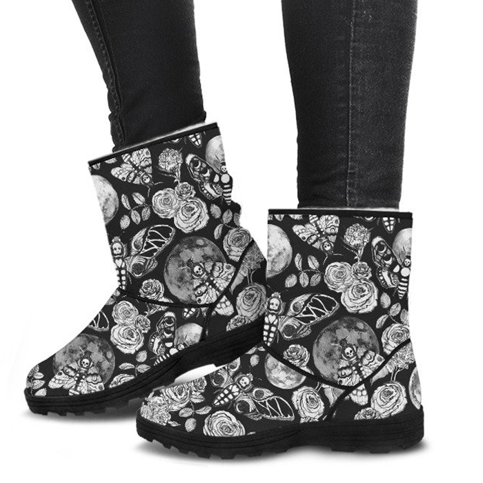 Enchanted Night Black and White - Faux Fur Boots