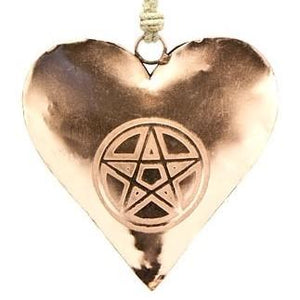 Pentacle Etched Heart in Copper