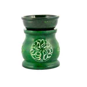 Tree of Life Soapstone Aroma Lamp in Green