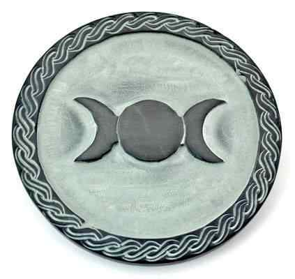 Triple Moon Altar Tile Green Stone