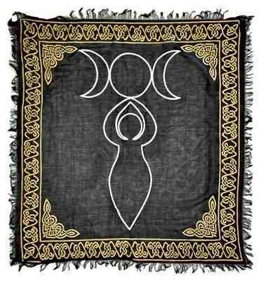 Triple Moon Goddess Gold and Silver Altar Cloth - Big