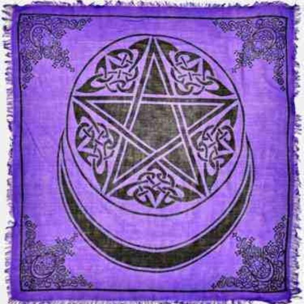 Moon Pentacle in Purple Altar Cloth - Big