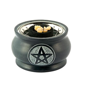 Pentacle Carved Natural Stone Screen Charcoal Burner
