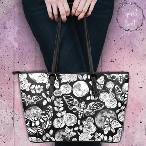 Enchanted Night Black and White - Big artificial leather bag.