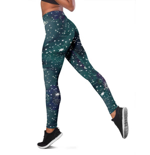 Astrology map turquoise leggings