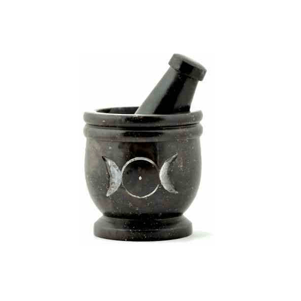 Triple Moon Carved Soapstone Mortar & Pestle