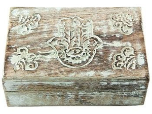 Hamsa Hand Carved Wooden Box