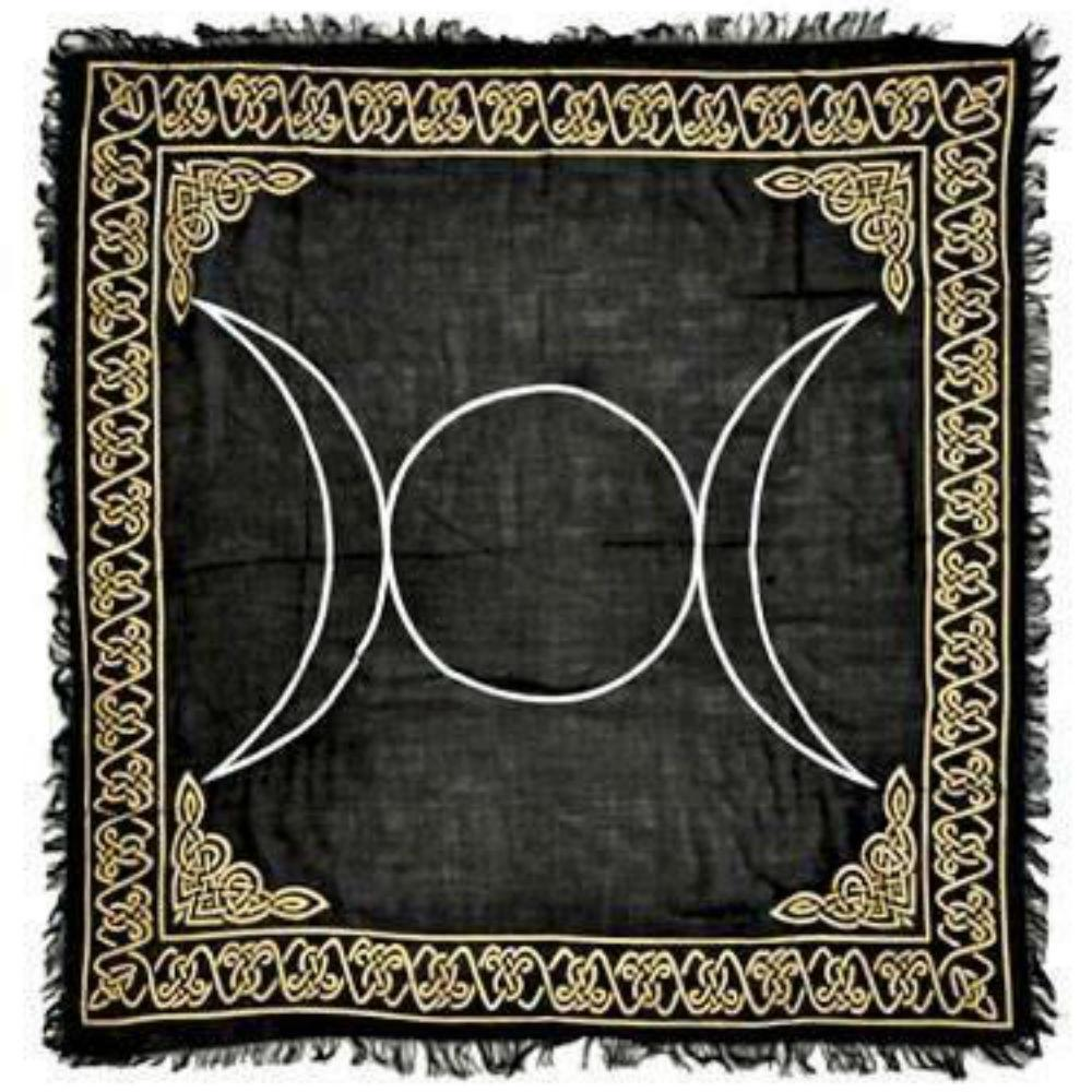 Triple moon gold and silver altar cloth - Big