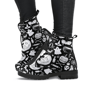 Spooky Black & White - Vegan Boots.
