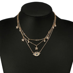 Delicate Third Eye and Stars Layered Necklace