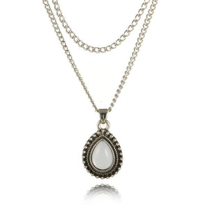 Double Layer Water Drop Opal Necklace