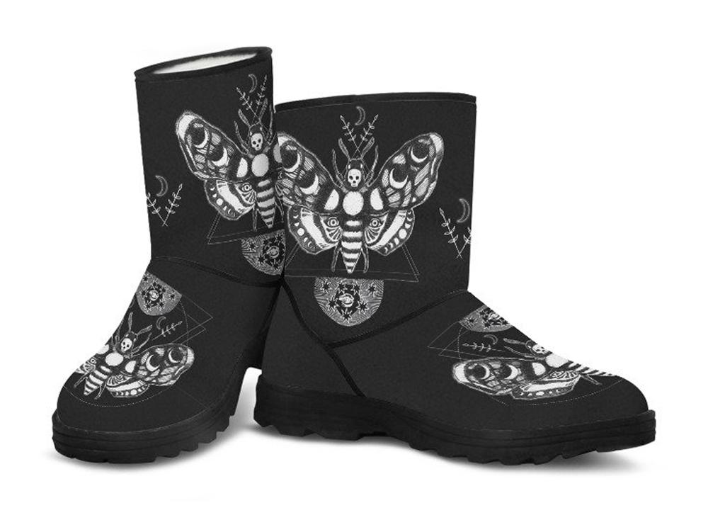 Death's-head Moth - Faux Fur Boots