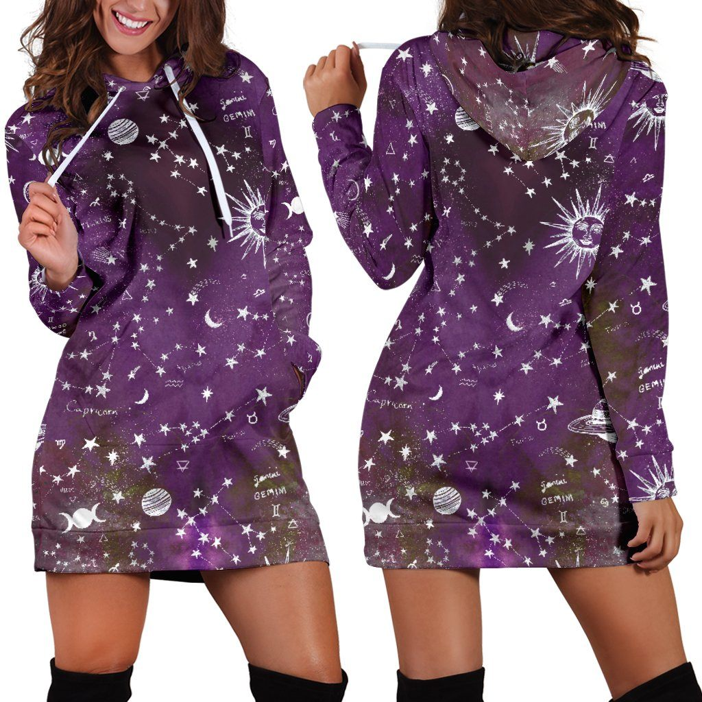 Astrology map - Purple hoodie dress